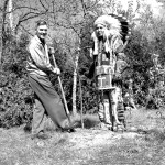 Charles Sauriol and Jasper Hill, also known as 'Chief Big White Owl', planting a tree