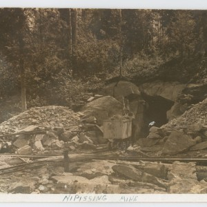 Ore bucket on track, Nipissing Mine, ca. 1910