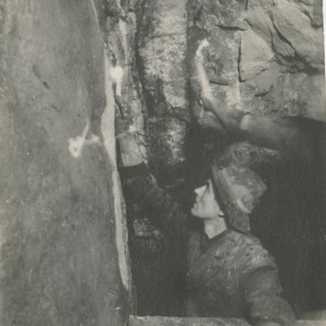 Underground Miner working in stope, Nipissing Mine, ca.1907